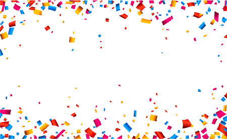 celebra: Blanco celebraci�n Marco colorido con confeti. Vector de fondo.