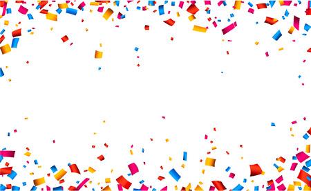Kleurrijke frame viering achtergrond met confetti. Vector achtergrond.