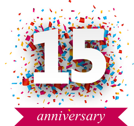 anniversary: Fifteen paper sign over confetti. Vector holiday anniversary illustration. Illustration