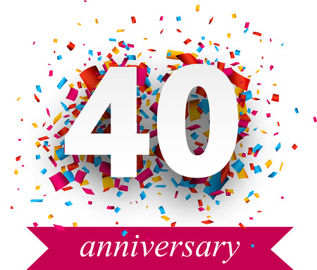 40 years: Forty paper sign over confetti. Vector holiday anniversary illustration. Illustration