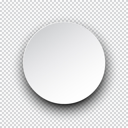 round: Vector illustration of white paper round speech bubble with shadow.  Illustration
