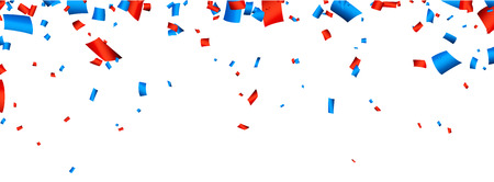 celebra: Colorida bandera celebración con confeti rojo y azul. Vector de fondo.