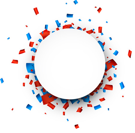 Colorful celebration background. Paper round speech bubble with red and blue confetti. Vector Illustration.