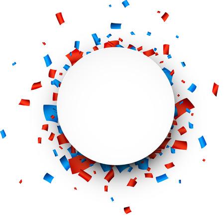 Kleurrijke viering achtergrond. Krantenwijk tekstballon met rode en blauwe confetti. Vector Illustratie.