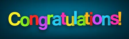 felicitaciones: Felicidades coloridas firman sobre fondo azul oscuro. Ilustración del vector.