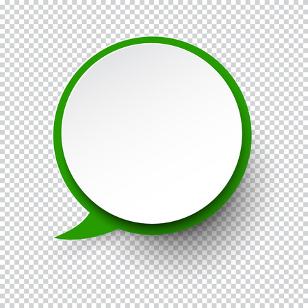 Vector illustration of white paper round speech bubble with shadow.  Illustration