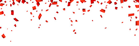 Celebration banner with red confetti. Vector background.