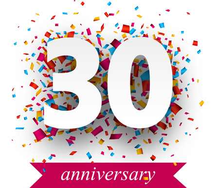 30 years: Thirty paper sign over confetti. Vector holiday anniversary illustration.