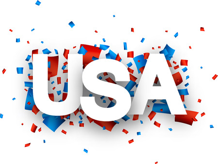 White USA sign over red and blue confetti background. Vector holiday illustration. Illustration