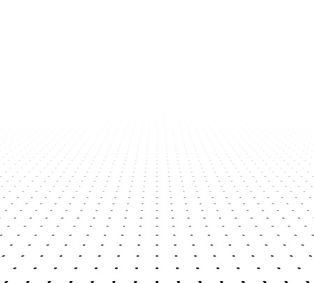 in perspective: Perspective black and white grid. Surface with circles. Vector illustration.