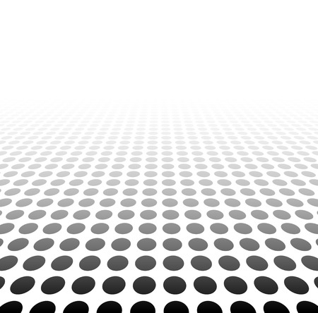 perspective: Perspective black and white grid. Surface with circles. Vector illustration.