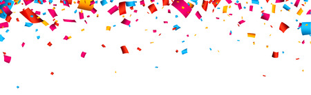 Colorful celebration banner with confetti. Vector background.
