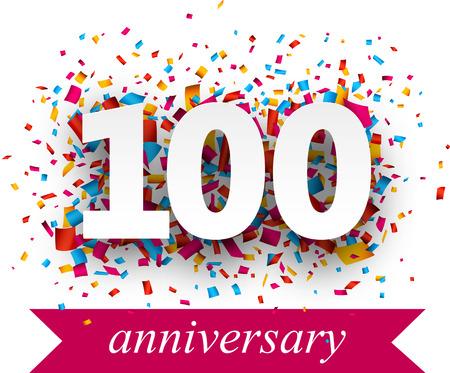 anniversaire: Cent signe de papier sur des confettis. Vecteur anniversaire illustration jour férié. Illustration