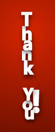 you: White thank you sign over red background. Vector illustration. Illustration