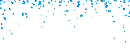 Colorful celebration banner with blue confetti.