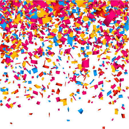 축하: 색종이와 다채로운 축하 배경. 벡터 배경입니다.