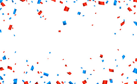 Colorful frame celebration banner with red and blue confetti. Vector background.