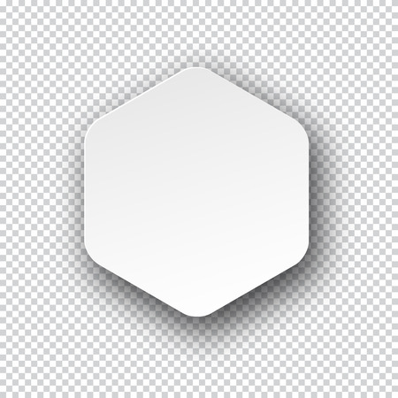 paper note: Vector illustration of white paper hexagonal note with shadow. Eps10.