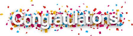 Congratulations paper sign over confetti. Vector holiday illustration.