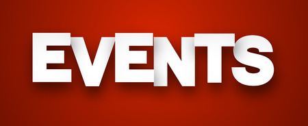 Event: White events sign over red background. Vector illustration.
