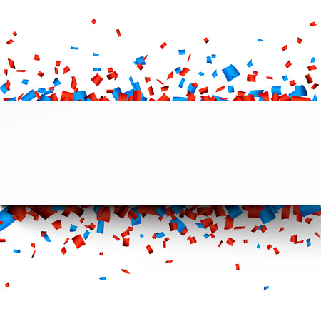 celebra: Papel celebración bandera sobre confeti rojo y azul. Vector de fondo.