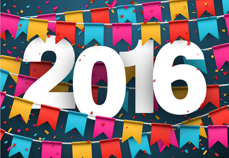 fun: Happy 2016 new year celebration background. Vector paper illustration. Illustration