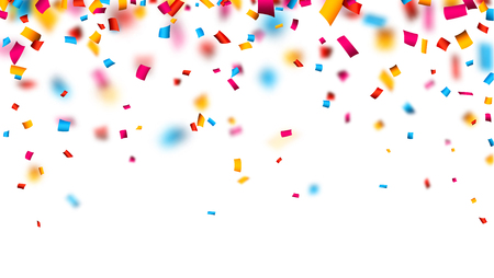 Colorful celebration background with defocused confetti. Vector illustration.