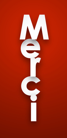 red sign: White merci sign over red background. Vector illustration.