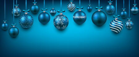 Abstract elegant background with blue christmas balls and place for text. Vector illustration.