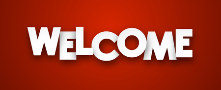 a sign: White welcome sign over red background. Vector illustration.
