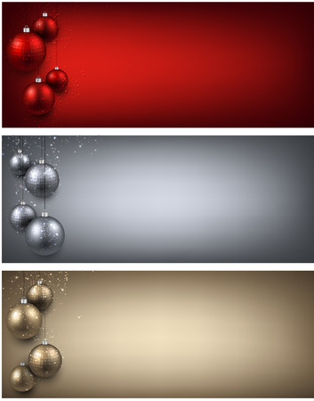 christmas banner: Abstract banners with color christmas balls. Vector illustration.