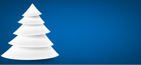 christmas blue: White paper christmas tree over blue banner with place for text. Vector illustration. Illustration