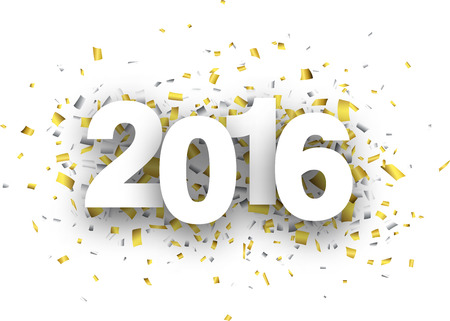 Happy 2016 new year with confetti. Vector paper illustration. Vector Illustration