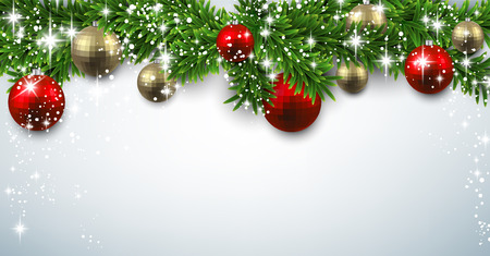 Twigs: Winter banner with spruce twigs and baubles. Christmas vector illustration with place for text. Illustration