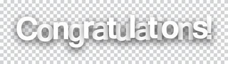 Congratulations paper sign over cells. Vector illustration. Vectores