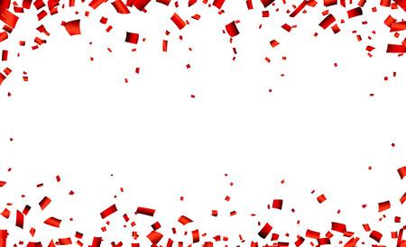célébration: Célébration bannière avec des confettis rouge. Vecteur de fond.