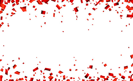 celebration: Celebration banner with red confetti. Vector background.