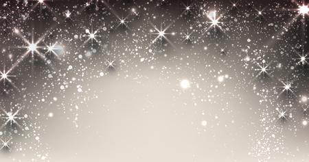 navidad elegante: Bandera elegante navidad estrellado con copos de nieve y el lugar de texto. Ilustración del vector.