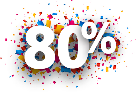 christmas present: 80% sale sign with colour confetti. Vector paper illustration.