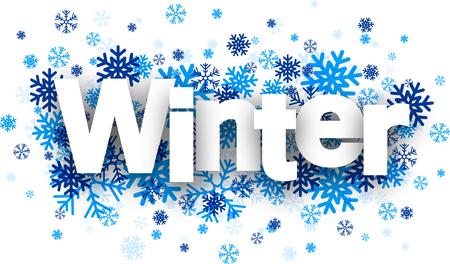 schneeflocke: Winter-wei�es Papier Schild �ber blauen Schneeflocken. Vektor-Illustration.