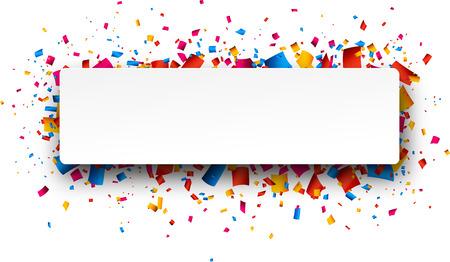 慶典: 七彩rightabout慶典背景與紙屑。矢量插圖。 向量圖像