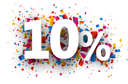 10% sale sign with colour confetti. Vector paper illustration.