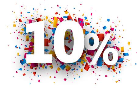 sticker: 10% sale sign with colour confetti. Vector paper illustration.