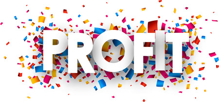 donative: Profit sign with colour confetti. Vector paper illustration. Illustration