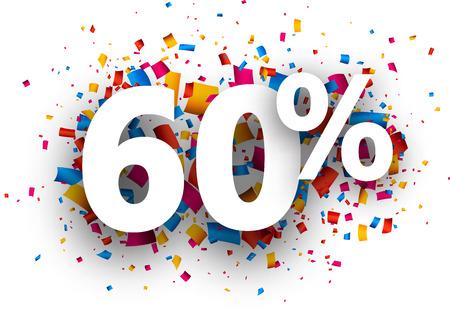 stimulation: 60% sale sign with colour confetti. Vector paper illustration.