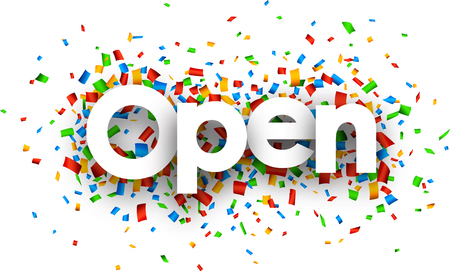 happening: Open sign with colour confetti. Vector paper illustration. Illustration