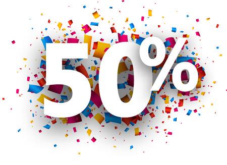 50% sale sign with colour confetti. Vector paper illustration.