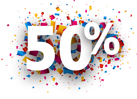 chance: 50% sale sign with colour confetti. Vector paper illustration. Illustration