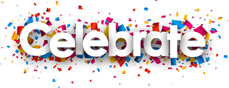 blissful: Celebrate with colour confetti. Vector paper illustration. Illustration