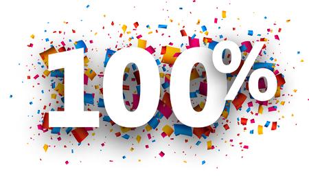 stimulation: 100% sign with colour confetti. Vector paper illustration.